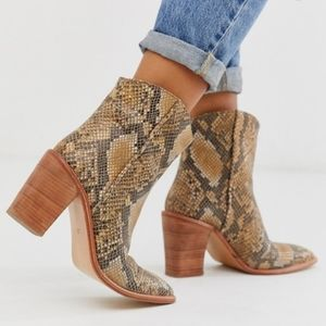 Free People Barclay Snake Print Ankle Boots 8